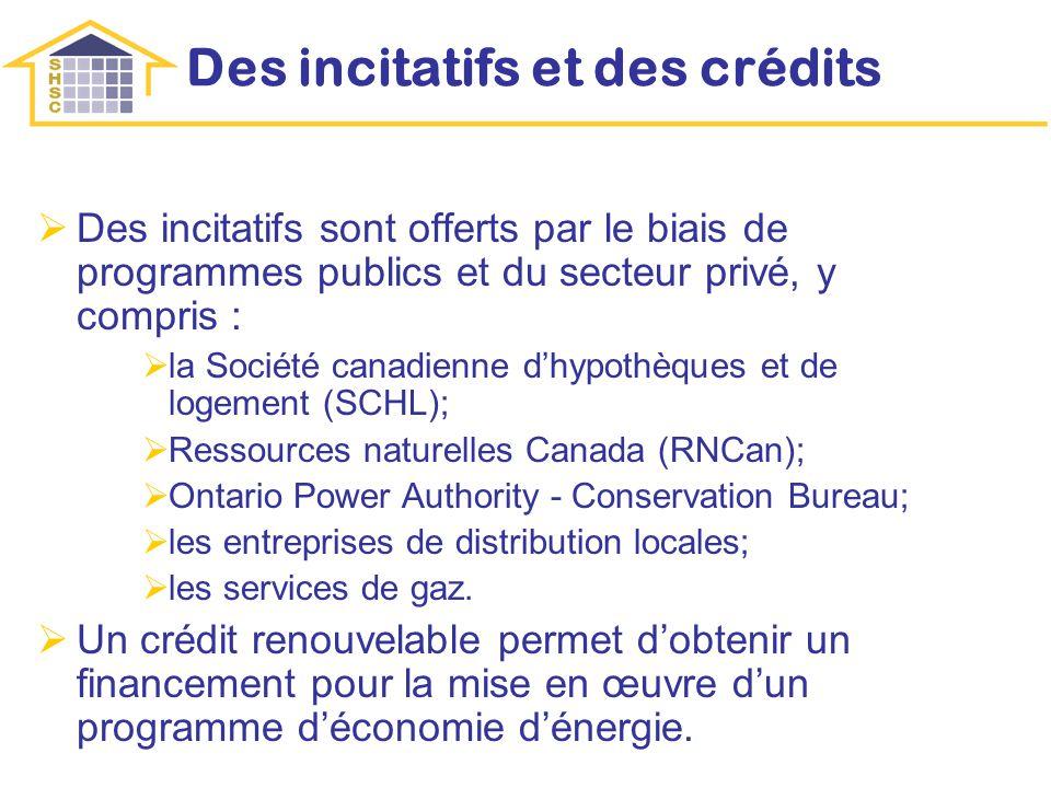 Des incitatifs et des crédits Des incitatifs sont offerts par le biais de programmes publics et du secteur privé, y compris : la Société canadienne dhypothèques et de logement (SCHL); Ressources naturelles Canada (RNCan); Ontario Power Authority - Conservation Bureau; les entreprises de distribution locales; les services de gaz.