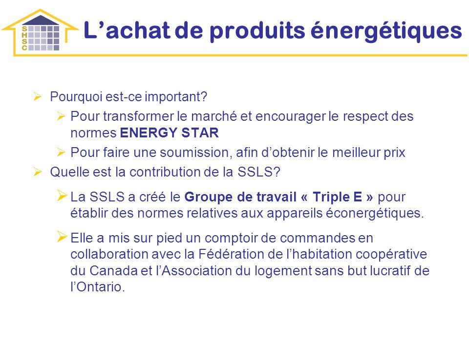 Lachat de produits énergétiques Pourquoi est-ce important? Pour transformer le marché et encourager le respect des normes ENERGY STAR Pour faire une s