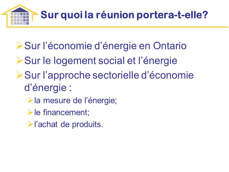 Sur quoi la réunion portera-t-elle? Sur léconomie dénergie en Ontario Sur le logement social et lénergie Sur lapproche sectorielle déconomie dénergie