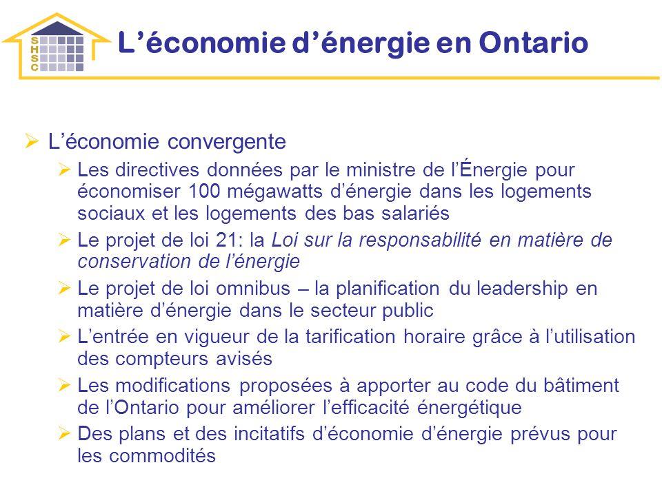Léconomie dénergie en Ontario Léconomie convergente Les directives données par le ministre de lÉnergie pour économiser 100 mégawatts dénergie dans les