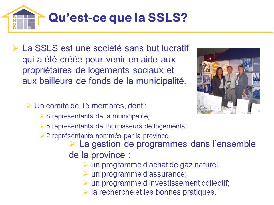 Quest-ce que la SSLS? La SSLS est une société sans but lucratif qui a été créée pour venir en aide aux propriétaires de logements sociaux et aux baill
