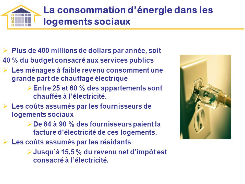 La consommation dénergie dans les logements sociaux Plus de 400 millions de dollars par année, soit 40 % du budget consacré aux services publics Les ménages à faible revenu consomment une grande part de chauffage électrique Entre 25 et 60 % des appartements sont chauffés à lélectricité.