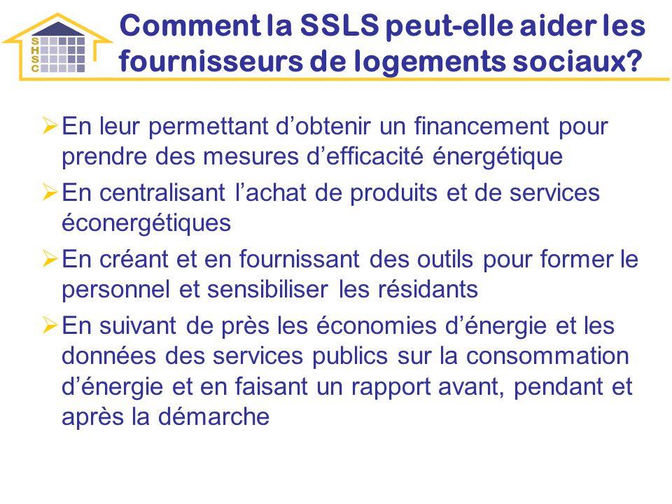 Comment la SSLS peut-elle aider les fournisseurs de logements sociaux? En leur permettant dobtenir un financement pour prendre des mesures defficacité