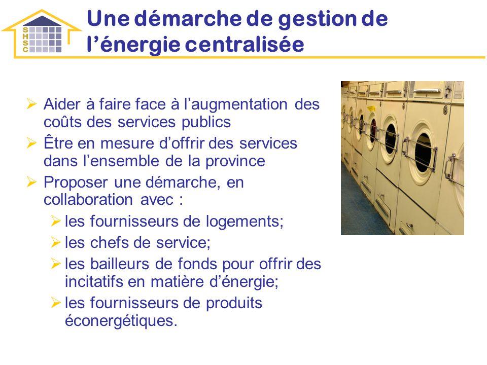 Une démarche de gestion de lénergie centralisée Aider à faire face à laugmentation des coûts des services publics Être en mesure doffrir des services