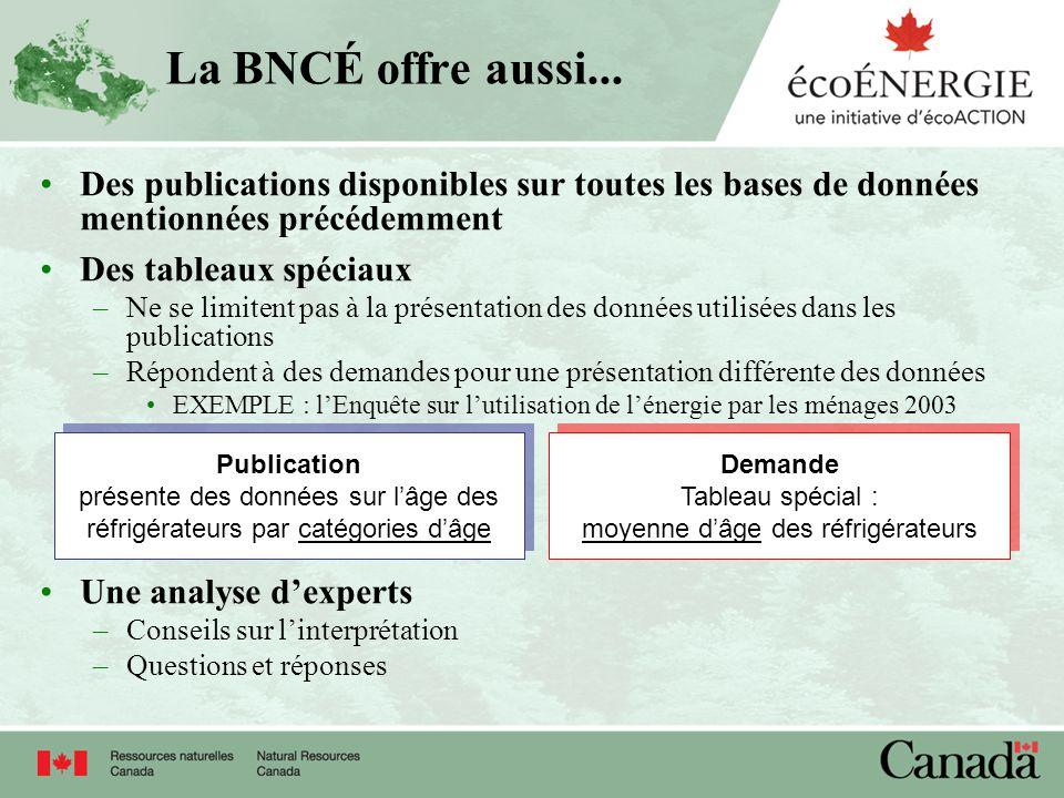 La BNCÉ offre aussi... Des publications disponibles sur toutes les bases de données mentionnées précédemment Des tableaux spéciaux –Ne se limitent pas