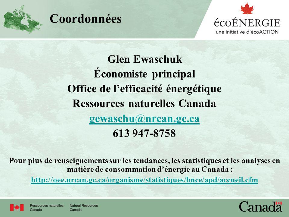 Coordonnées Glen Ewaschuk Économiste principal Office de lefficacité énergétique Ressources naturelles Canada gewaschu@nrcan.gc.ca 613 947-8758 Pour p