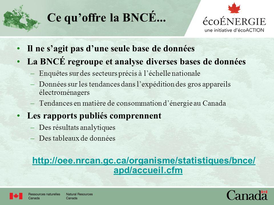 Ce quoffre la BNCÉ... Il ne sagit pas dune seule base de données La BNCÉ regroupe et analyse diverses bases de données –Enquêtes sur des secteurs préc