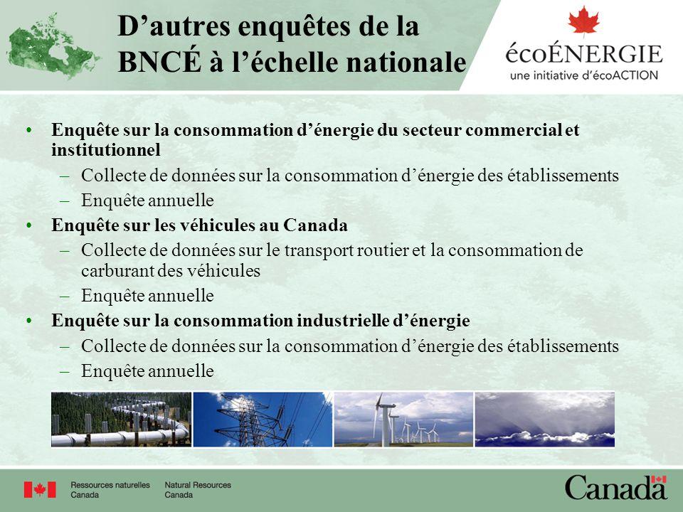 Dautres enquêtes de la BNCÉ à léchelle nationale Enquête sur la consommation dénergie du secteur commercial et institutionnel –Collecte de données sur