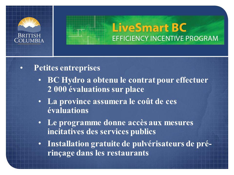 Petites entreprises BC Hydro a obtenu le contrat pour effectuer 2 000 évaluations sur place La province assumera le coût de ces évaluations Le programme donne accès aux mesures incitatives des services publics Installation gratuite de pulvérisateurs de pré- rinçage dans les restaurants