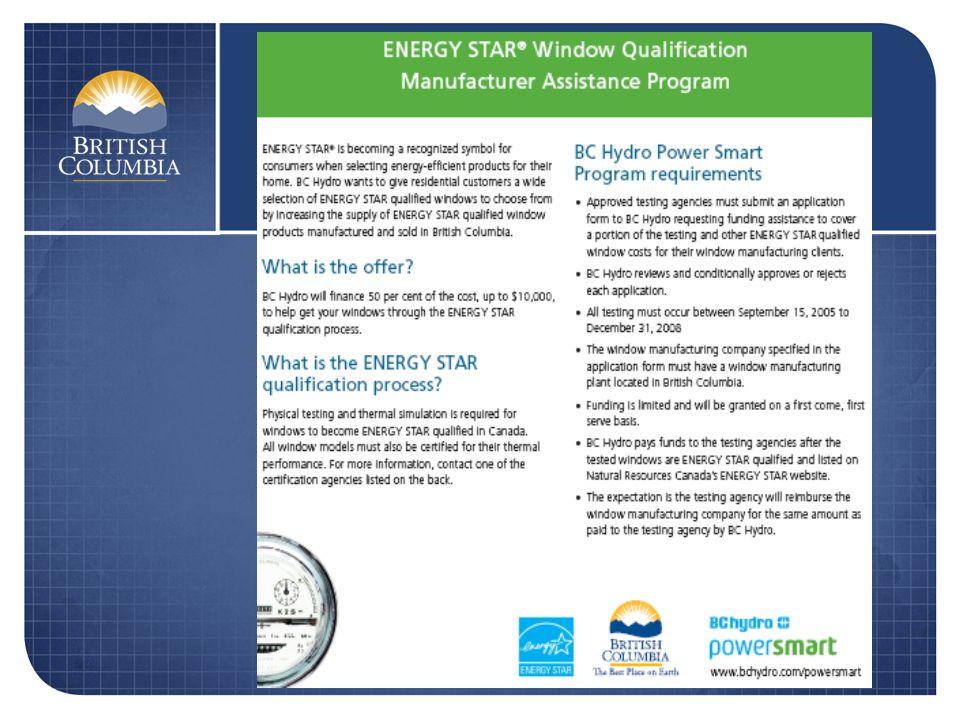 Loi sur lefficacité énergétique Modifications proposées Produits exemptés couverts par les normes ASHRAE 90.1 (2004) du code du bâtiment de la C.-B.