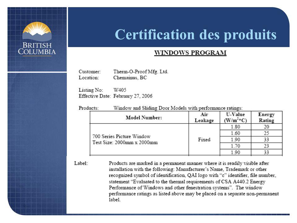 Certification des produits