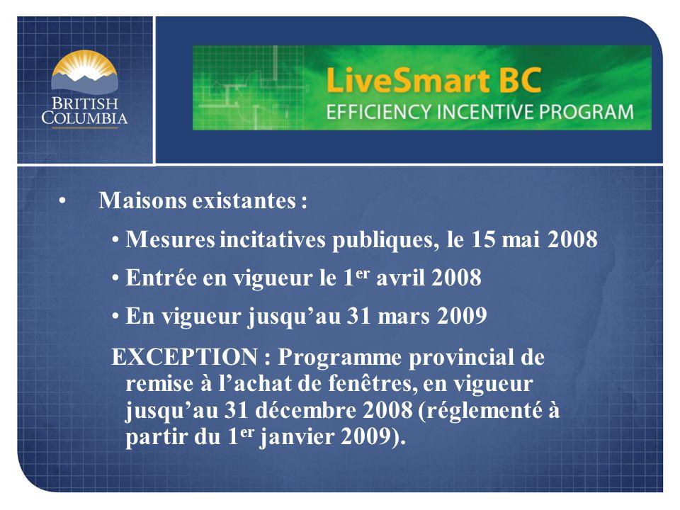Maisons existantes : Mesures incitatives publiques, le 15 mai 2008 Entrée en vigueur le 1 er avril 2008 En vigueur jusquau 31 mars 2009 EXCEPTION : Pr