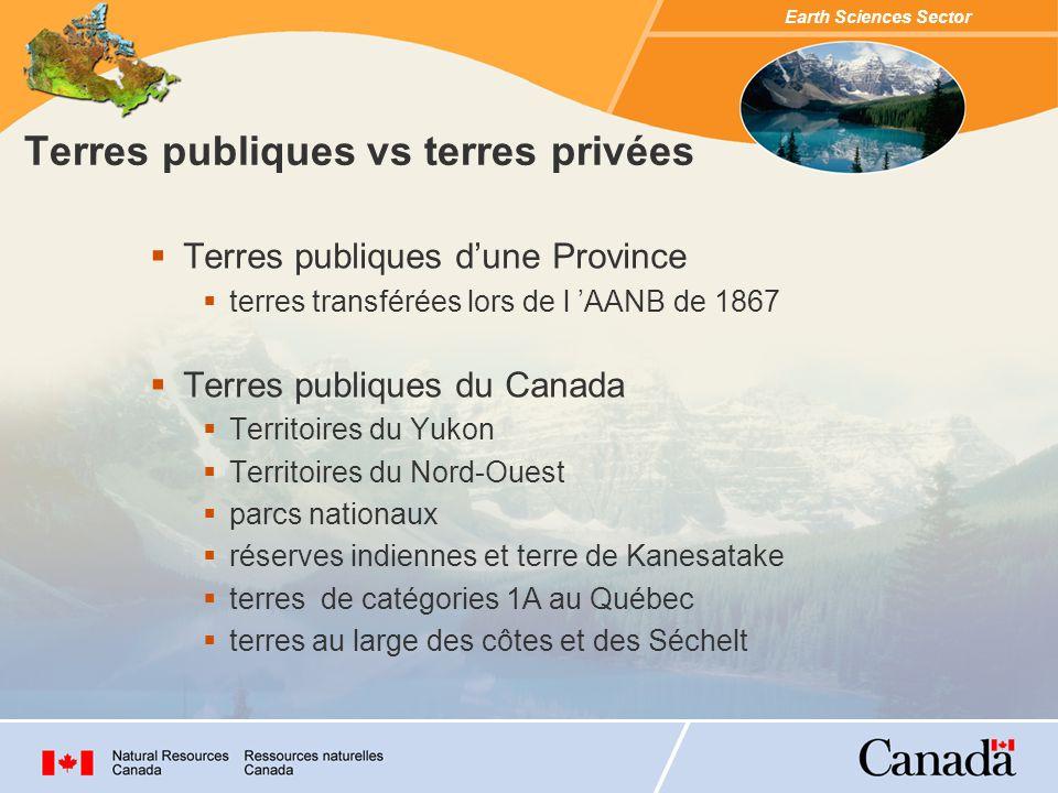 Terres publiques vs terres privées Terres publiques dune Province terres transférées lors de l AANB de 1867 Terres publiques du Canada Territoires du Yukon Territoires du Nord-Ouest parcs nationaux réserves indiennes et terre de Kanesatake terres de catégories 1A au Québec terres au large des côtes et des Séchelt