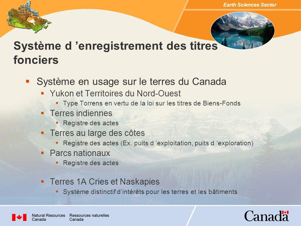 Earth Sciences Sector Système en usage sur le terres du Canada Yukon et Territoires du Nord-Ouest Type Torrens en vertu de la loi sur les titres de Biens-Fonds Terres indiennes Registre des actes Terres au large des côtes Registre des actes (Ex.