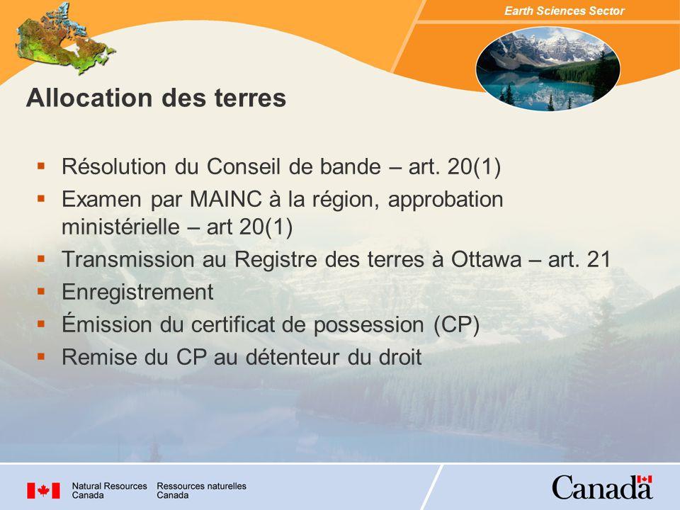Earth Sciences Sector Allocation des terres Résolution du Conseil de bande – art.