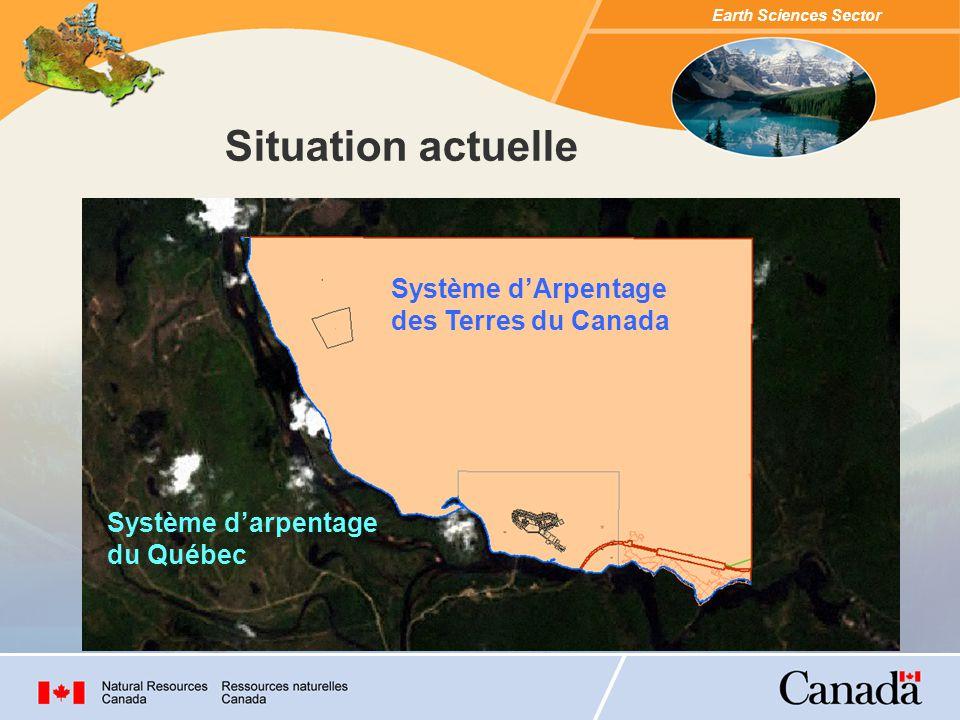 Earth Sciences Sector Situation actuelle Système darpentage du Québec Système dArpentage des Terres du Canada