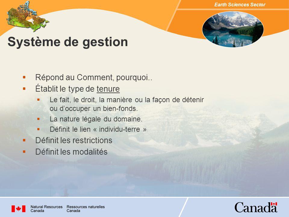 Earth Sciences Sector Système darpentage Répond au Où, combien...