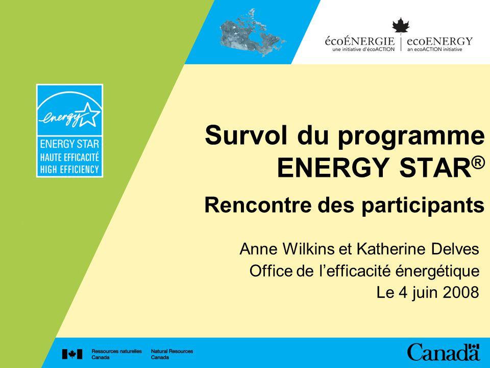 Survol du programme ENERGY STAR ® Rencontre des participants Anne Wilkins et Katherine Delves Office de lefficacité énergétique Le 4 juin 2008