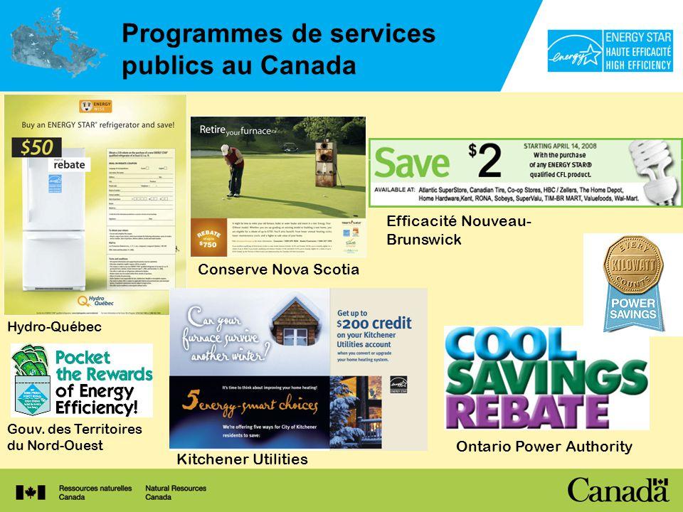 Programmes de services publics au Canada Hydro-Québec Ontario Power Authority Efficacité Nouveau- Brunswick Gouv.