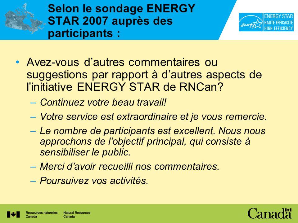 Selon le sondage ENERGY STAR 2007 auprès des participants : Avez-vous dautres commentaires ou suggestions par rapport à dautres aspects de linitiative ENERGY STAR de RNCan.