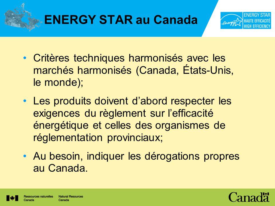 ENERGY STAR au Canada Critères techniques harmonisés avec les marchés harmonisés (Canada, États-Unis, le monde); Les produits doivent dabord respecter les exigences du règlement sur lefficacité énergétique et celles des organismes de réglementation provinciaux; Au besoin, indiquer les dérogations propres au Canada.