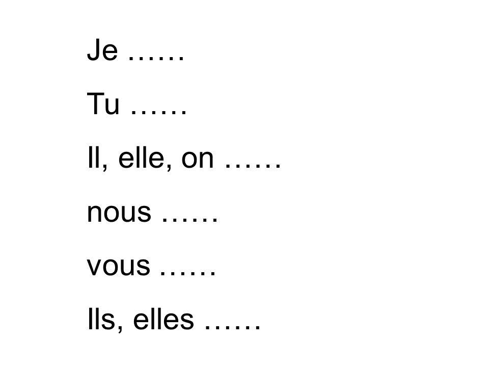 Je …… Tu …… Il, elle, on …… nous …… vous …… Ils, elles ……