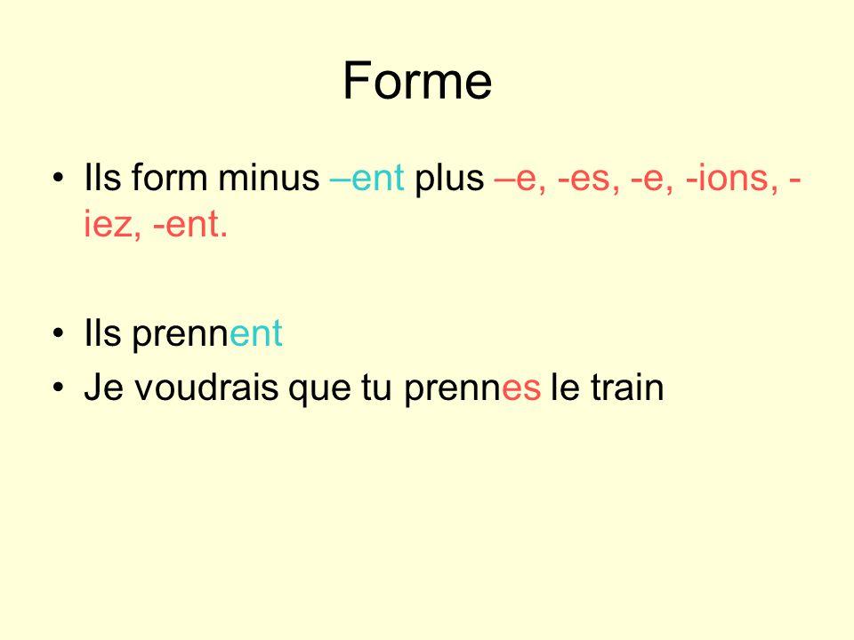 Forme Ils form minus –ent plus –e, -es, -e, -ions, - iez, -ent.
