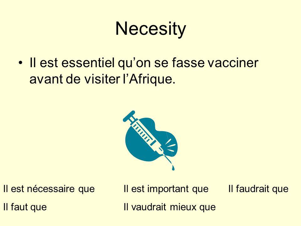 Necesity Il est essentiel quon se fasse vacciner avant de visiter lAfrique.