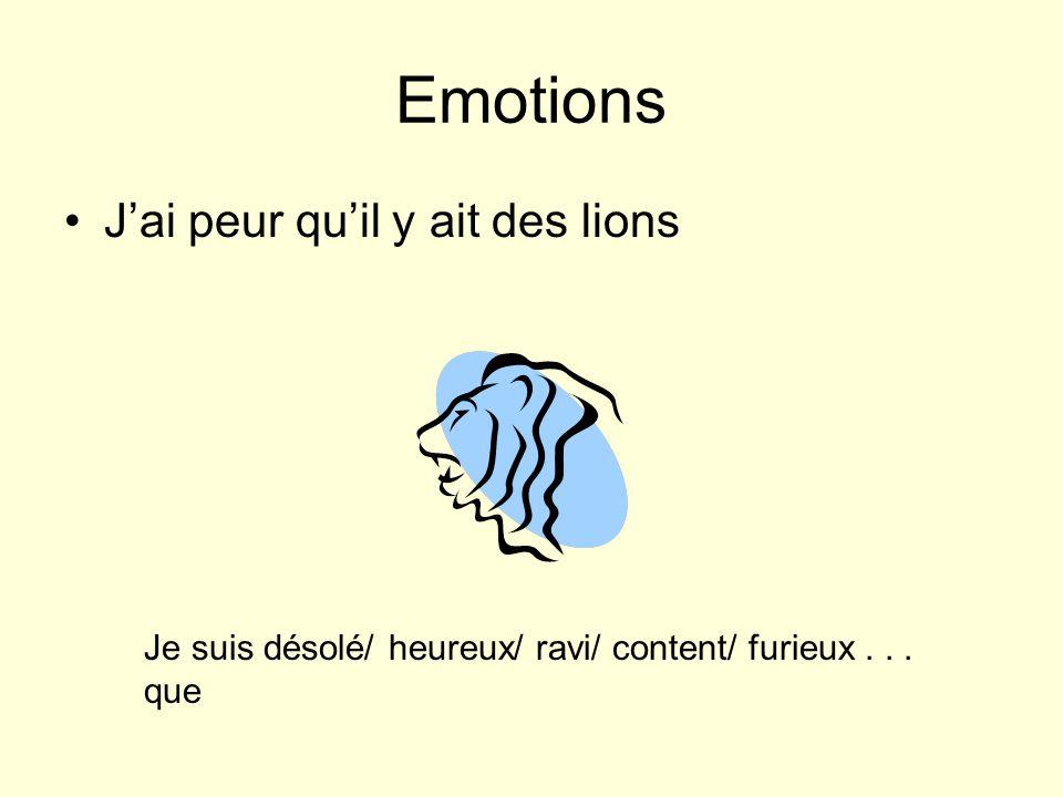 Emotions Jai peur quil y ait des lions Je suis désolé/ heureux/ ravi/ content/ furieux... que