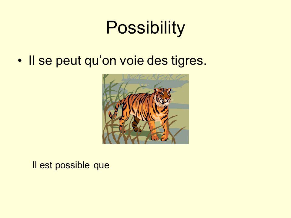 Possibility Il se peut quon voie des tigres. Il est possible que