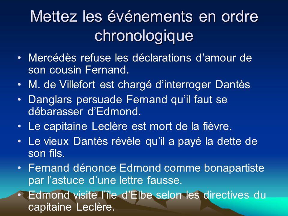 Mettez les événements en ordre chronologique Mercédès refuse les déclarations damour de son cousin Fernand. M. de Villefort est chargé dinterroger Dan