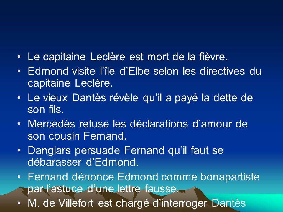 Le capitaine Leclère est mort de la fièvre. Edmond visite lîle dElbe selon les directives du capitaine Leclère. Le vieux Dantès révèle quil a payé la