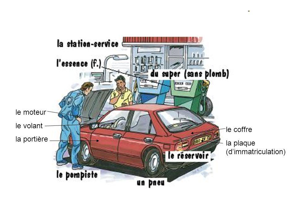 le moteur le volant la portière le coffre la plaque (dimmatriculation)