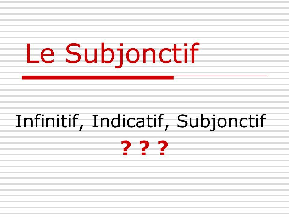Le Subjonctif Infinitif, Indicatif, Subjonctif ? ? ?