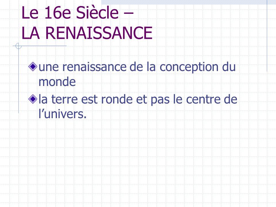 Le 16e Siècle – LA RENAISSANCE une renaissance de la conception du monde la terre est ronde et pas le centre de lunivers.