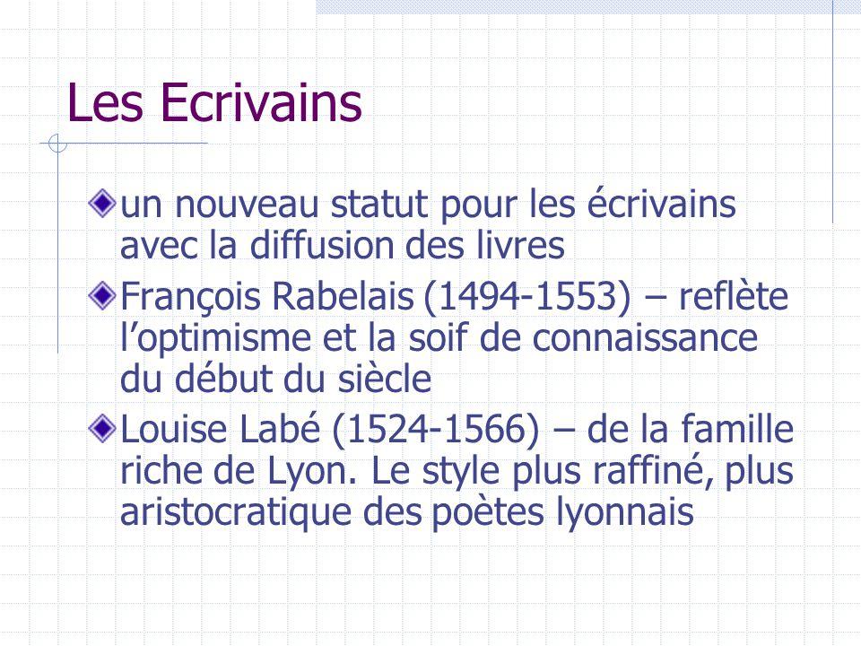 Les Ecrivains un nouveau statut pour les écrivains avec la diffusion des livres François Rabelais (1494-1553) – reflète loptimisme et la soif de conna