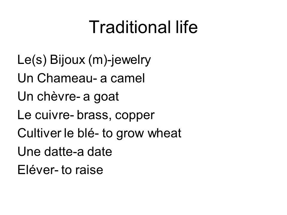 Traditional life Le(s) Bijoux (m)-jewelry Un Chameau- a camel Un chèvre- a goat Le cuivre- brass, copper Cultiver le blé- to grow wheat Une datte-a date Eléver- to raise