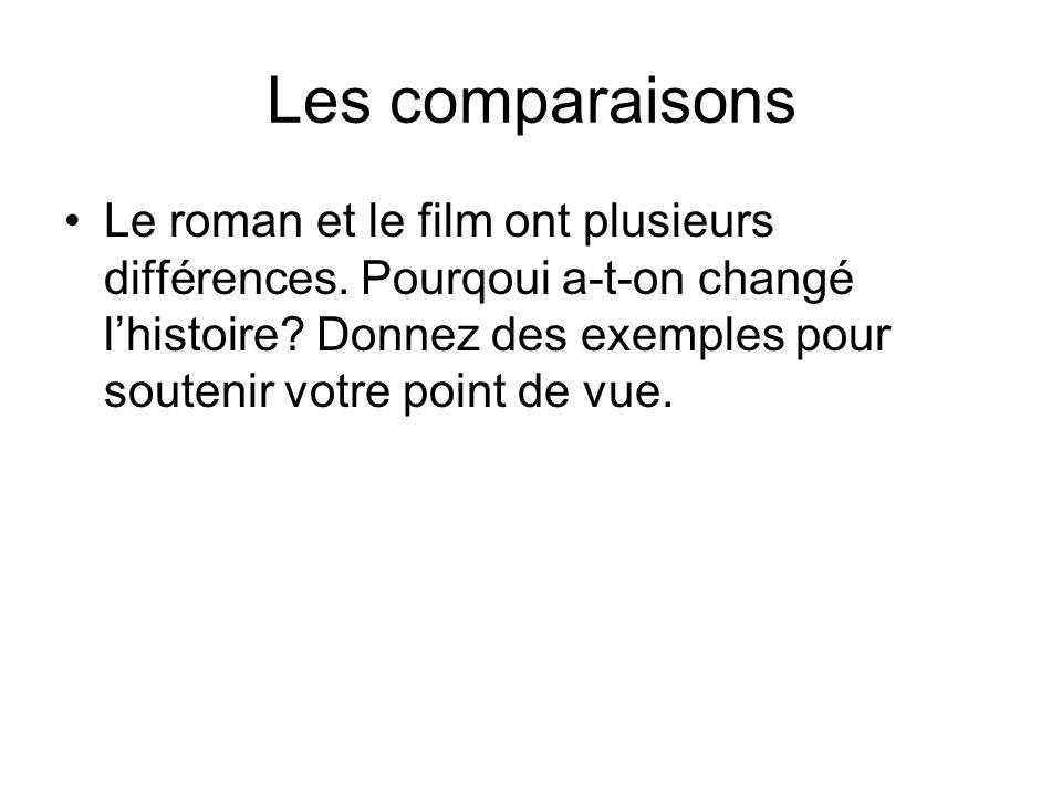 Les comparaisons Le roman et le film ont plusieurs différences.