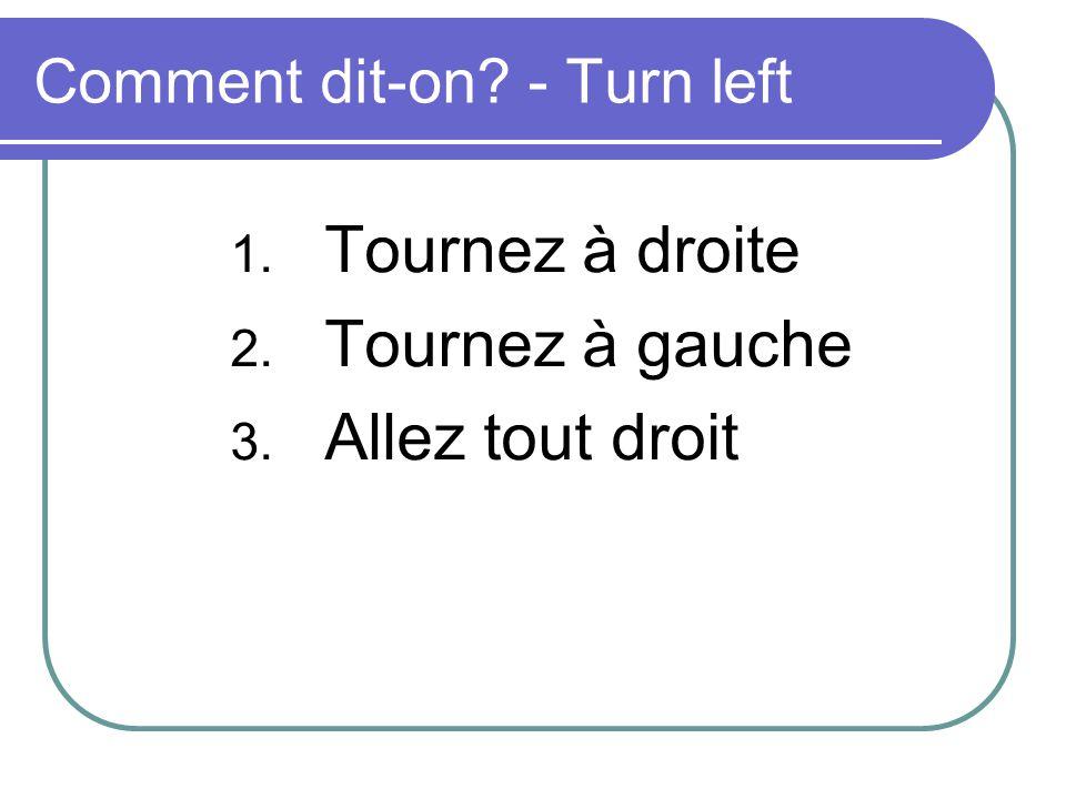 Comment dit-on? - Turn left 1. Tournez à droite 2. Tournez à gauche 3. Allez tout droit