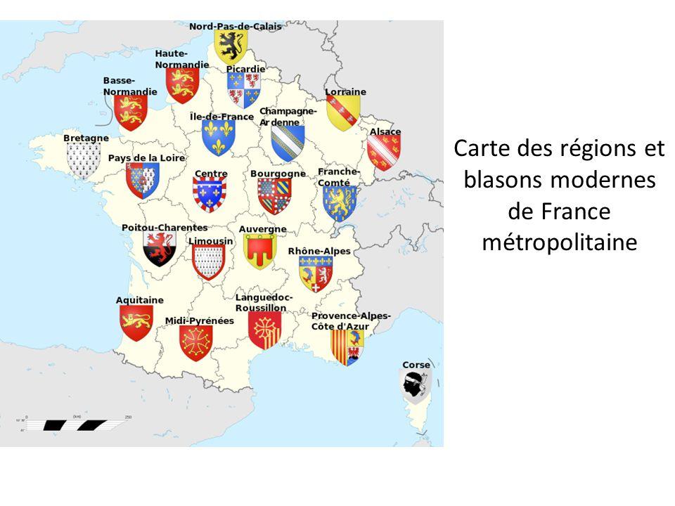 Carte des régions et blasons modernes de France métropolitaine