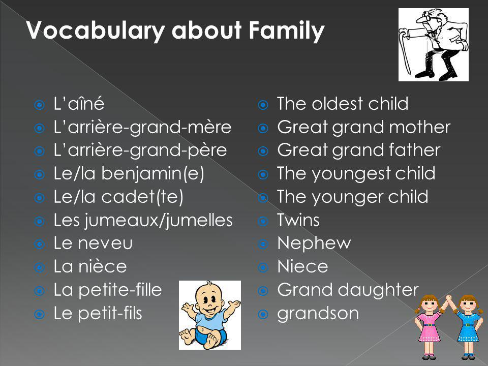 The oldest child Great grand mother Great grand father The youngest child The younger child Twins Nephew Niece Grand daughter grandson Laîné Larrière-