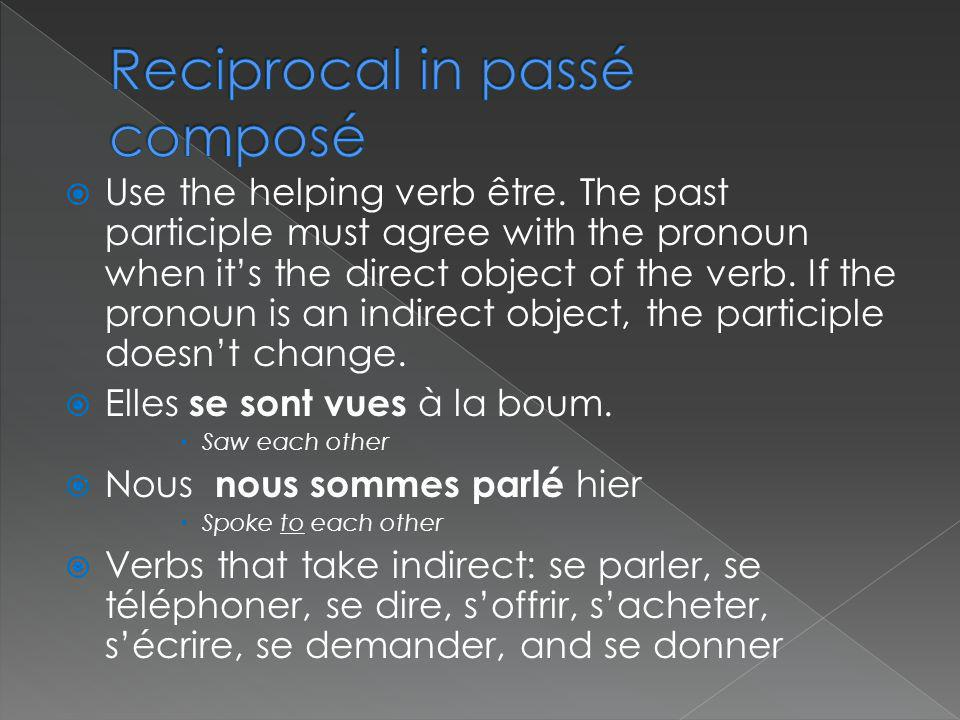 Use the helping verb être. The past participle must agree with the pronoun when its the direct object of the verb. If the pronoun is an indirect objec