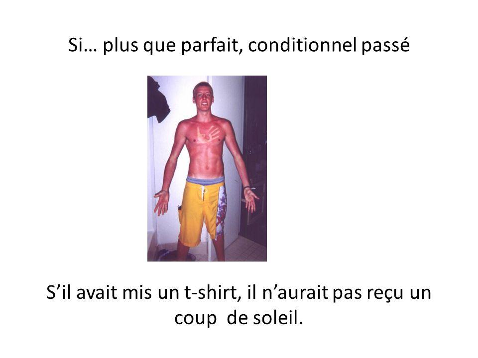 Si… plus que parfait, conditionnel passé Sil avait mis un t-shirt, il naurait pas reçu un coup de soleil.