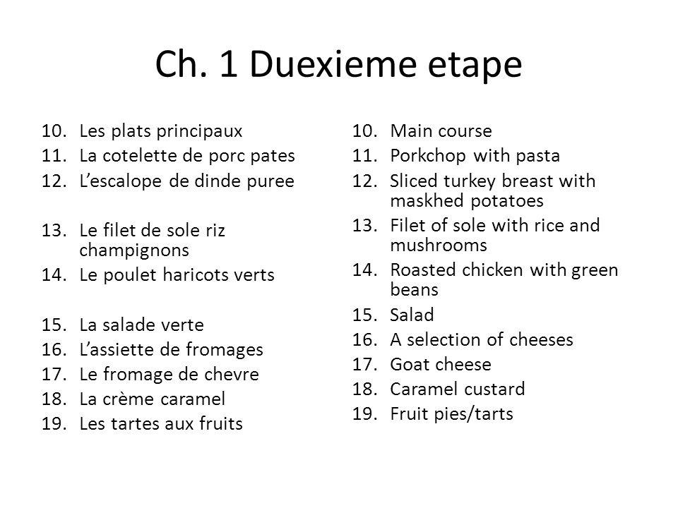 Ch. 1 Duexieme etape 10.Les plats principaux 11.La cotelette de porc pates 12.Lescalope de dinde puree 13.Le filet de sole riz champignons 14.Le poule