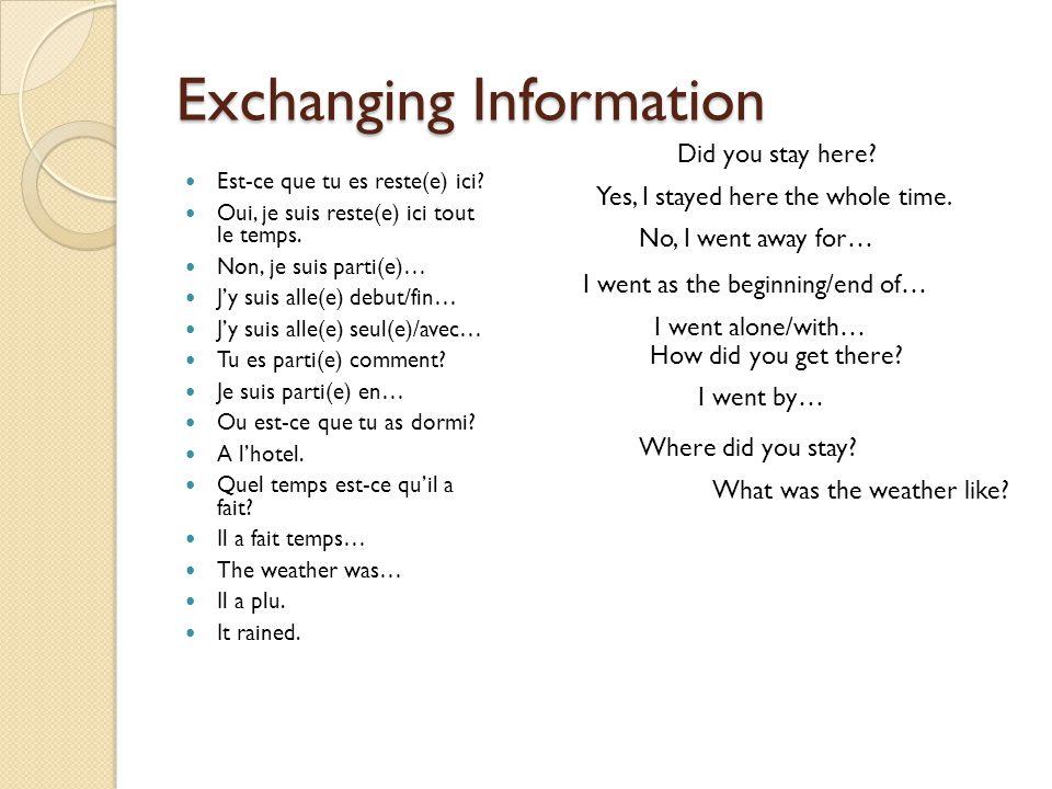 Exchanging Information Est-ce que tu es reste(e) ici? Oui, je suis reste(e) ici tout le temps. Non, je suis parti(e)… Jy suis alle(e) debut/fin… Jy su
