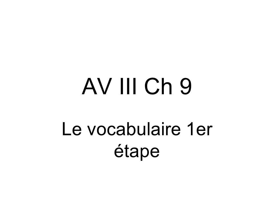 AV III Ch 9 Le vocabulaire 1er étape