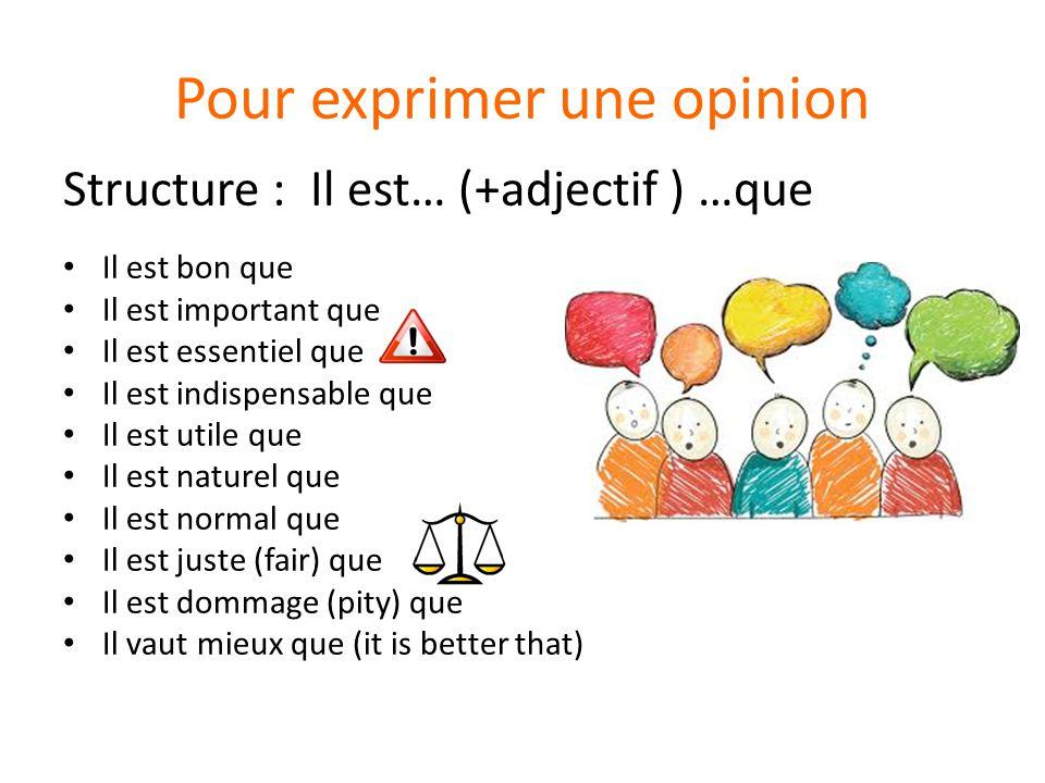 Pour exprimer une opinion Structure : Il est… (+adjectif ) …que Il est bon que Il est important que Il est essentiel que Il est indispensable que Il e