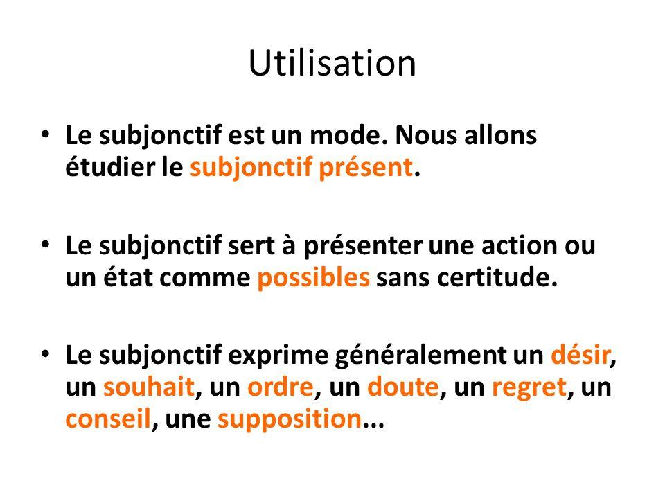 Utilisation Le subjonctif est un mode. Nous allons étudier le subjonctif présent. Le subjonctif sert à présenter une action ou un état comme possibles