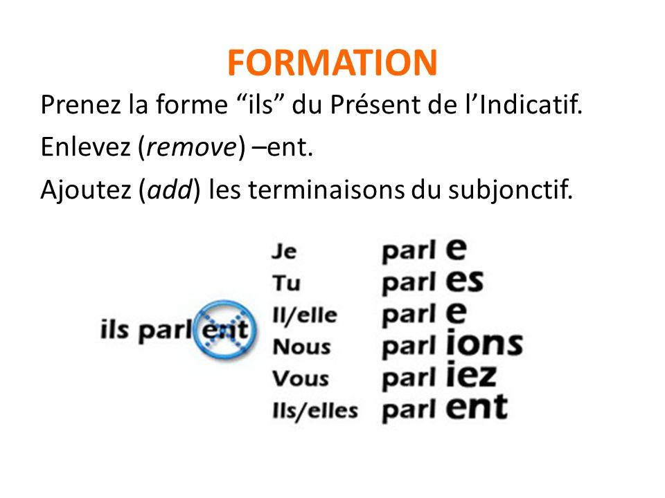 FORMATION Prenez la forme ils du Présent de lIndicatif. Enlevez (remove) –ent. Ajoutez (add) les terminaisons du subjonctif.
