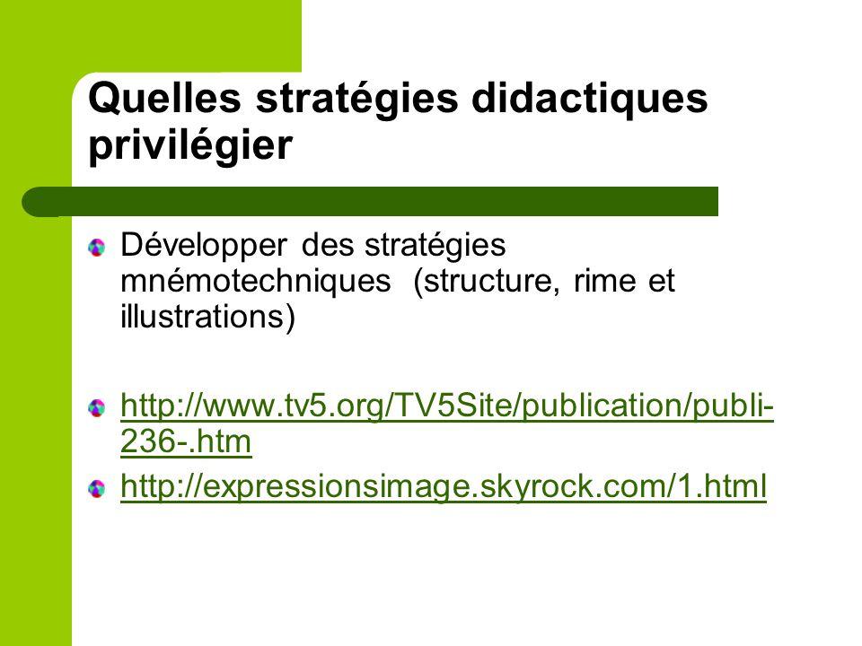 Développer des stratégies mnémotechniques (structure, rime et illustrations) http://www.tv5.org/TV5Site/publication/publi- 236-.htm http://expressions